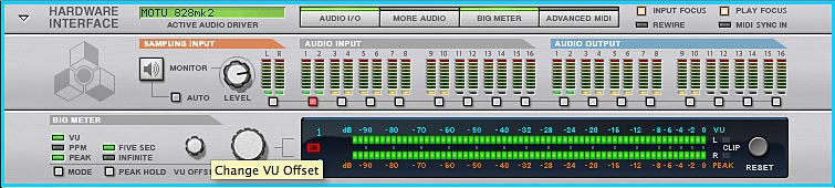Setting VU offset in the Big Meter